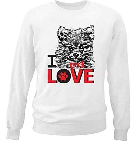 Teesquare1st Men's I LOVE POMERANIAN White Sweatshirt Size