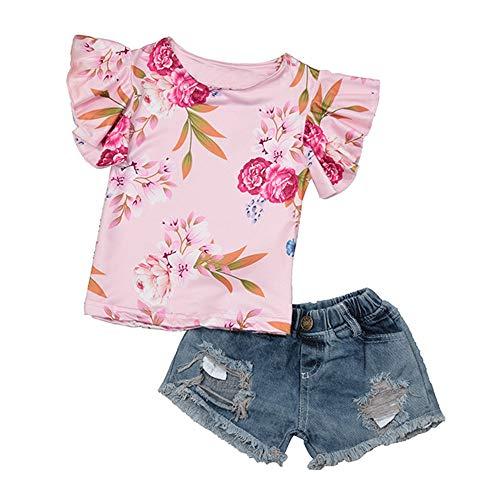 Abbigliamento neonato estate completini per bambini estate abbigliamento bimba body 12 18 mesi top con stampa floreale per bambini + jeans pantaloncini in denim set due pezzi