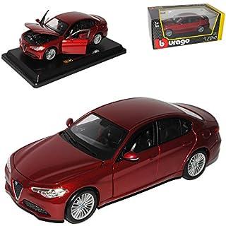 Bburago Alfa Romeo Giulia Typ 952 Limousine Rot Metallic Generation Ab 2016 1/24 Modell Auto mit individiuellem Wunschkennzeichen