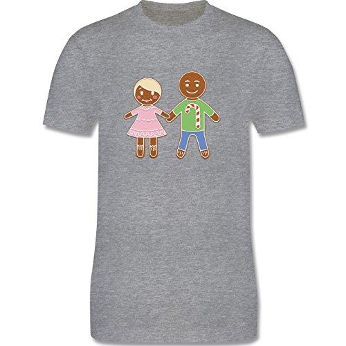 Weihnachten & Silvester - Lebkuchenmann und -frau - Herren Premium T-Shirt Grau Meliert