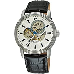 Stuhrling Original Delphi Acheron Men's Automatic Watch with Black Dial Analogue Display and Black Leather Strap 1076.3335099999999