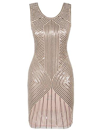 PrettyGuide Damen 20s Gatsby Downton Wulstige Sequin verschönerte Flapper-Kleid M Champagner rosa