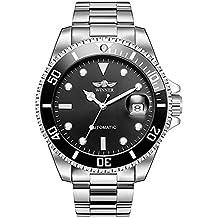 Hombres automático Mecánico relojes Winner marca de lujo resistente al agua para hombre de acero completa
