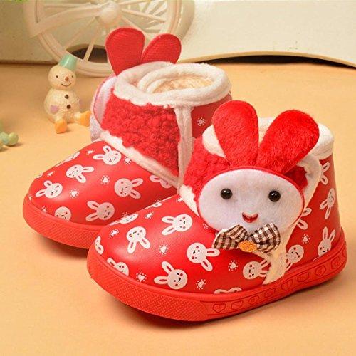 Chaussures de bébé,Fulltime® Bottes bébé Filles Garçons Hiver Thick Neige fourrure Chaussures Rouge