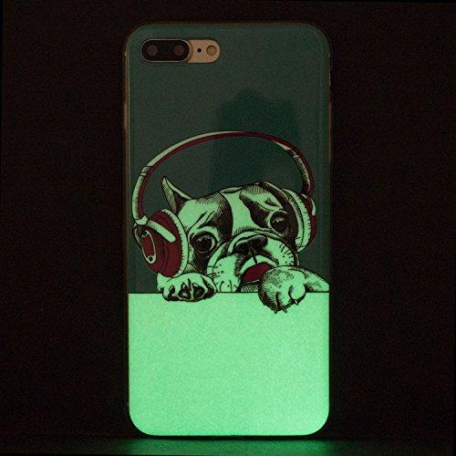 Cover iphone 8 plus Custodia iphone 7 plus Silicone Anfire Morbido Flessibile Gel TPU Case per apple iphone 8 plus/7 plus (4.7 pollici) Ultra Sottile Fluorescente Shell Antiurto Luminosa al Buio Coper Auricolare Cane