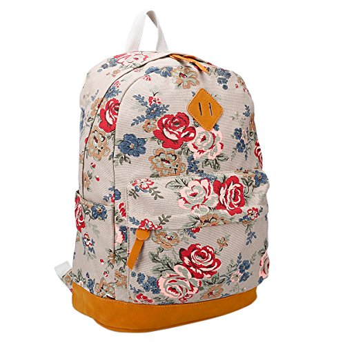 TININNA Vintage Floral tela Zaino Satchel Daypack spalla sacchetto di scuola Beige Beige