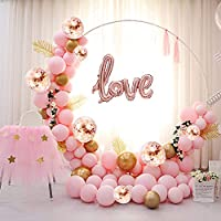 ATFUNSHOP Balloon Arch Kit 117PCS 5M Latex Balloon Garland Kit with Rose Gold Pink Balloons Confetti Balloons and Metallic Balloons for Parties Baby Shower Birthday Bachelorette Hen Party Backdrop