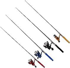 Pocket Pen Shape Mini Aluminum Alloy Fishing Rod Pole+ Reel 100M Line