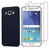E-Mandala Samsung Galaxy J5 2016 Panzerglas Hülle Schutzfolie Displayschutzfolie Glas Folie Glasfolie Flim + Silikon Dunkelblau Tasche Handyhülle Bumper Etui Schutzhülle