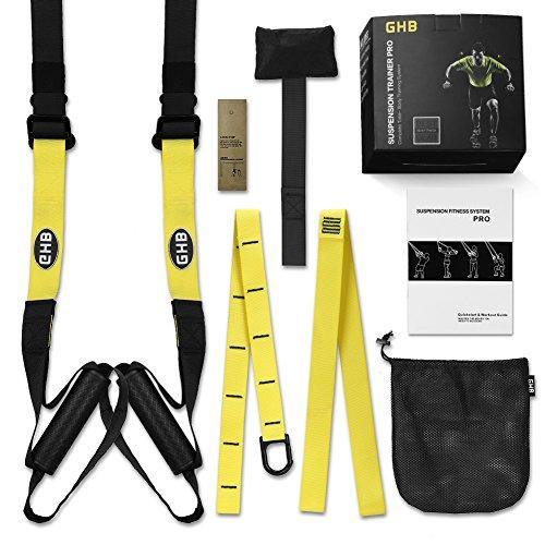 GHB Kit Suspension Trainer Allenamento in Sospensione a 400 kg Adulto Unisex Nero Giallo
