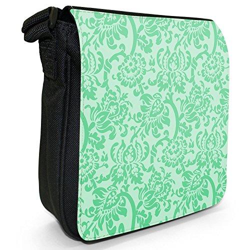 Carta da parati con motivo floreale, Design Piccolo Nero Tela Borsa a tracolla, taglia S Mint Green Floral Wallpaper Design