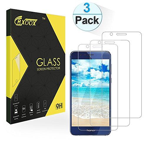 Schutzfolie für Huawei Honor 8, [3 Stück] CRXOOX Gehärtetem Glas Displayschutzfolie Panzerglasfolie Huawei Honor 8, Klar HD Ultra, 9H Härte, Anti-Öl, Wasser, Kratzer,Blasen,Staub und Fingerabdruck, Ultra Klare Transparenz Schutzfolien für Huawei Honor 8