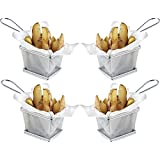 Mister Chef Mini cromo Chip cesta de servir para freír unidades 4 – Ideal para Chips
