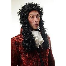 WIG ME UP ® - 91175-ZA103 Peluca hombres Carnaval Halloween barroco renacimiento príncipe poeta rey noble negro rizos largos 55 cm