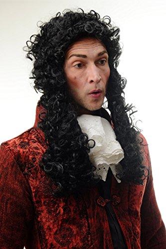 103 Perücke Herren Karneval Halloween Barock Renaissance Edelmann Adliger Schwarz Locken Lang 55 cm (Renaissance Perücke)