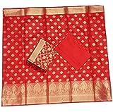 SHREEMAA CREATIONS Women's Silk Cotton Banarsi Summer Suit with Dupatta (BBBSB144, Red)