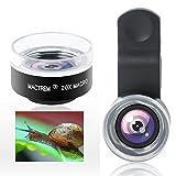 Mactrem Smartphone Lenti Macro 20X Fotocamera Cellulare; Obiettivo fotocamera per iPhone 7/7 Plus/6s/6s plus/6/5, SSamsung Galaxy S6 Edge+ / S6 Edge / S6 / S5 / S4 / S3 HTC, Sony Xperia, Huawei & la maggior parte degli smartphone