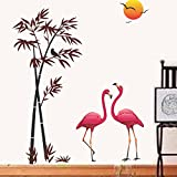 #7: Decals Design 'Flamingos and Bamboo at Sunset' Wall Sticker (PVC Vinyl, 90 cm x 60 cm, Multicolour)
