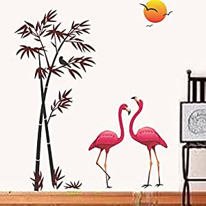 Decals Design 6996 StickersKart Wall Stickers Pink Flamingos & Bamboo at Sunset (Wall Covering Area: 150cm x 125cm (Multicolor)