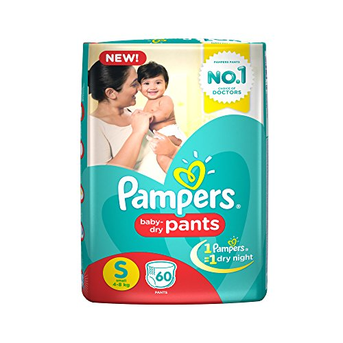 Pampers Small Size Diapers Pants, White (60 Count)
