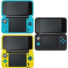 Funda Protectora para Nintendo new 2DS XL, AFUNTA Set de 3 Funda Antideslizante de Silicona para Consolas new 2DSXL con Comodida al agarrar la consola- Negro, Azul, Amarillo