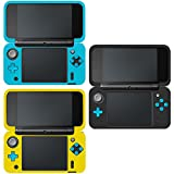 AFUNTA Protective Case for New Nintendo 2DS XL, Set of 3 Anti-slip Silicone Cover with Comfort Feeling - Black, Blue, Yellow