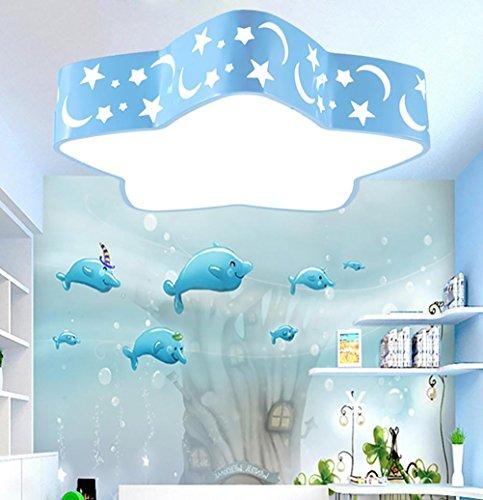 OOFAY führte Fünf-Sterne-Deckenleuchte Wohnzimmer Schlafzimmer Balkon Studie Kinderzimmer Deckenleuchte, Blue, White Light - 5 Lite Kristall Lampe