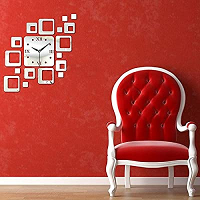 RONGXINUK Mirror Wall Clock Removable Decal Art Sticker Home Decor Silver - cheap UK light store.
