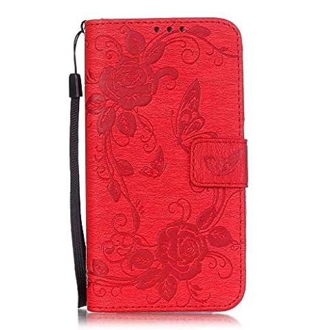 Galaxy S7 Edge Hülle,Galaxy S7 Edge Lederhülle,Mo-Beauty® Malerei Schmetterling Muster