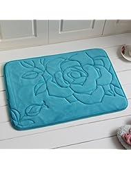 Eazyhurry solide Motif fleur Corail Polaire en microfibre Tapis de bain absorbant Tapis de sol Zone Tapis, bleu lac, 40,7 x 61 cm