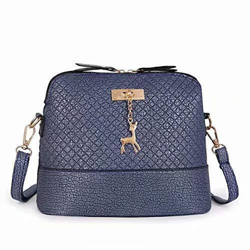 Schwarze Ärmellose Shell (Bobopai Generic Women Vintage PU Leather Shoulder Bags Shell Model Handbag (25 * 10 * 19cm) (Grey) (Blue))