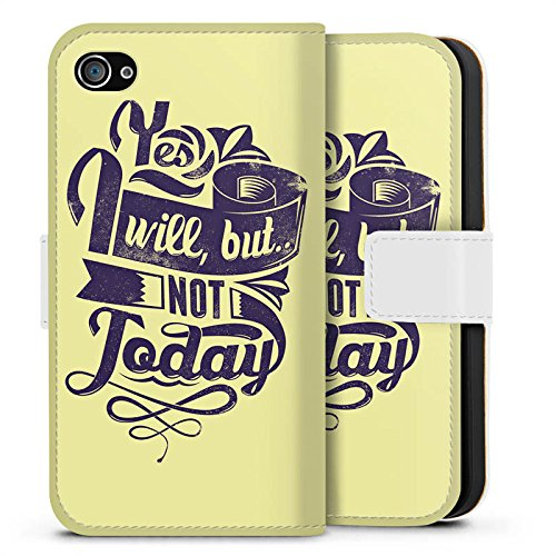 Apple iPhone X Silikon Hülle Case Schutzhülle Prokrastination Faulheit Statement Sideflip Tasche weiß