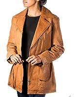 Ladies NEW Tan Real Soft Sheepskin Leather Finishing Long Classic Biker Jacket (Sizes 8 - 24)