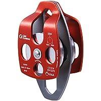 GM CLIMBING polea de rescate grande certificada 32kN UIAA polea individual / doble con placa oscilante CE / UIAA (doble polea - naranja)