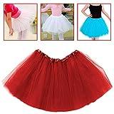 OcioDual Tutu Elástico de Tul 3 Capas Falda Ballet Danza Disfraz Cosplay Princesa con Goma Elástica para Niñas Bebes Niños Rojo