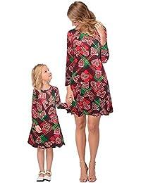 MIAOMIAOWANG Mamá y yo Vestidos Vestidos de la Familia Ropa de Navidad Madre Hija Niñas Padres