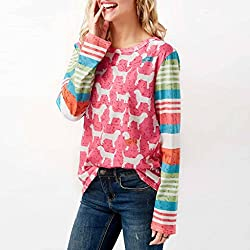Momola Cute Little Dog Printing Fashion Womens Teen Girls Colourful Patchwork O-Neck Long Sleeve Tops Ladies Casual T-Shirt Blouse