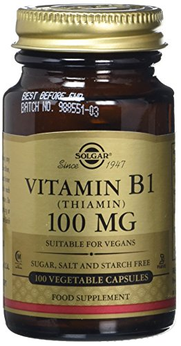 Solgar 100 mg Vitamin B1 Thiamin Vegetable Capsules - 100 Capsules Test