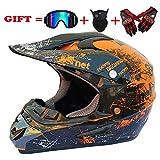 Adult Motocross Helm MX Motorradhelm ATV Scooter ATV Helm D. O. T Zertifiziert Rockstar Multicolor Mit Brillen Handschuhe Maske (S, M, L, XL),S