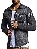LEIF NELSON Herren Strick-Jacke-Hemd| Vintage Jeans-Hemd für Männer Slim-Fit Langarm | Freizeit Jacke-Hemd Verwaschen Casual LN3560; Größe M, Schwarz