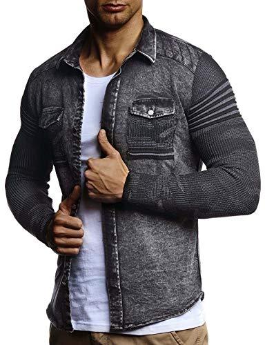Leif Nelson Herren Strick-Jacke-Hemd Vintage Jeans-Hemd für Männer Slim-Fit Langarm Freizeit Jacke-Hemd Verwaschen Casual LN3560; Größe L, Schwarz -