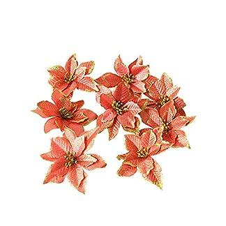 Nubstoer – 8 Flores Artificiales de Pascua con Purpurina para Navidad, Boda, Color Naranja