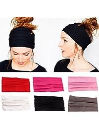 Sharplace 6pcs Bandeaux Cheveux Turban Elastique Couleur Pure Accessoire Cheveux pour Sports Tennis Running Yoga