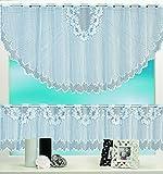 Bistrogardine Mona weiß 2er Set 160x60 und 160x30cm Cafehaus Jacquard Gardine 2-teilig Verschiedene Modelle Typ 5