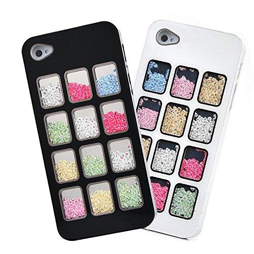 D9Q Luxus Bling Hülle österreichischen Raster Case cover Crystal Strass Shining Fall Schutzhülle für Apple iPhone 5 5S ! Schwarz