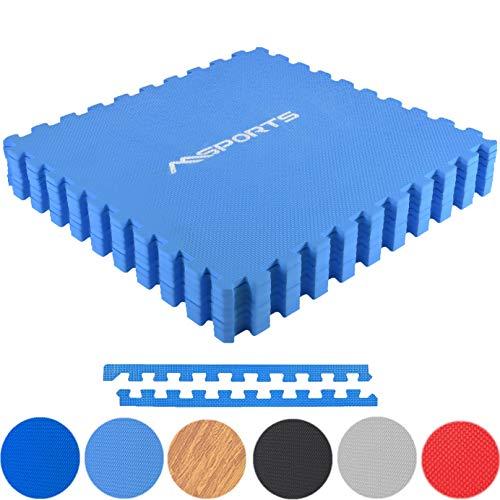 MSPORTS Bodenschutzmatten Set Premium - 8 Schutzmatten 3,175m² | Bodenschutz 60x60 cm | Stärke: 1,2 cm | Puzzlematten Gymnastikmatte (Blau)