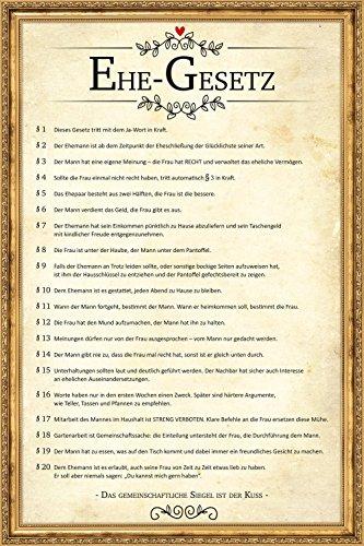 Close Up Poster Urkunde EHEGESETZ Plakat, 60 x 40 cm - lustiges, inoffizielles Dokument für die Ehe, Scherzartikel