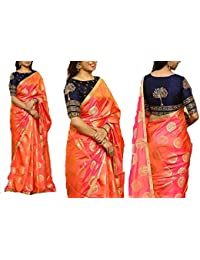SilverStar Women's Gold Foil Work Paper Silk Saree With Both Side Coding And Sequence Work Benglori Silk Blouse...