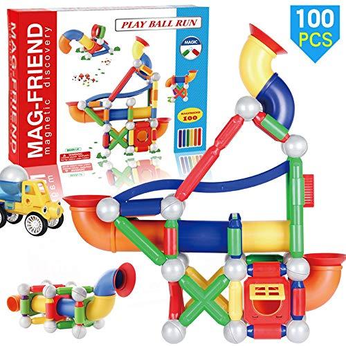 Kinder puzzle eltern-kind-interaktion montieren magnetstange spielzeug track ball rutsche kreativität bau block stapeln spiel geeignet for jungen und mädchen 100 stücke bausteine Magnetic Blocks
