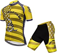 Hot Rides Men's Quick Dry Cycling Jersey and 3D Gel Padded Shorts and Bib
